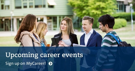 Upcoming career events. Happy students standing outdoors talking