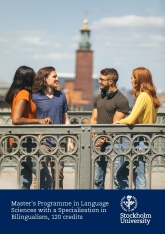 Folder cover. Four students outdoors with Stockholm City Hall in the background